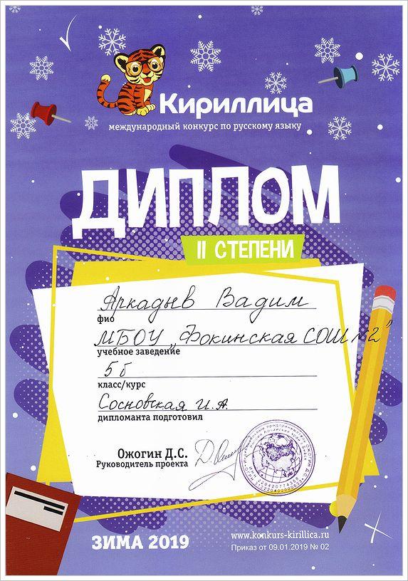 Аркадьев Вадим. Диплом II степени